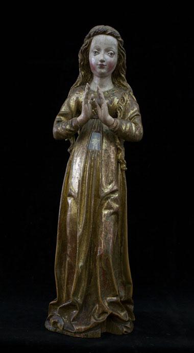Panna Marie v naději z Květnova. Dolní Bavorsko – Franky (?), 80. léta 15. stol.